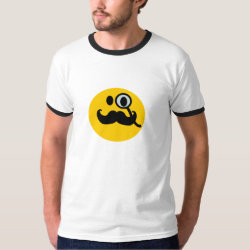Men's Basic Ringer T-Shirt with Mustache with Monocle Smiley design
