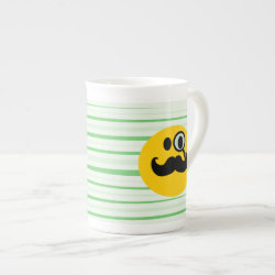 Bone China Mug with Mustache with Monocle Smiley design
