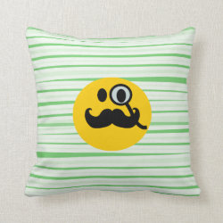 Cotton Throw Pillow with Mustache with Monocle Smiley design