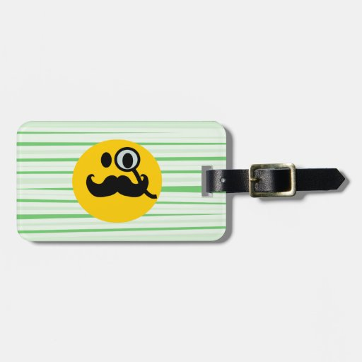 Mustache monocle Smiley Travel Bag Tag