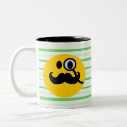 Two-Tone Mug with Mustache with Monocle Smiley design