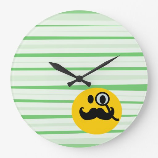 Mustache monocle Smiley Wall Clock
