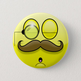 Mustache & Monocle Smilie Button