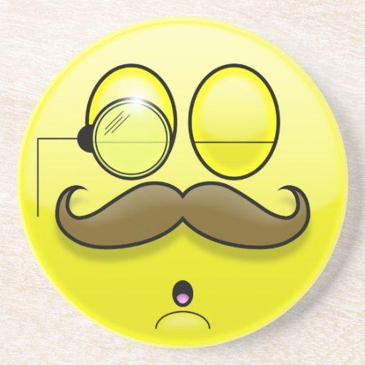 Mustache & Monocle Smilie Coaster