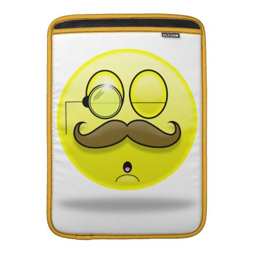 Mustache & Monocle Smilie Macbook Sleeve