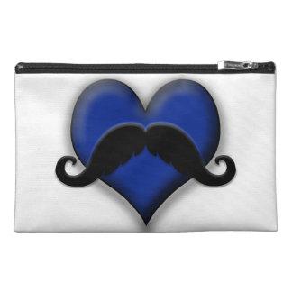 Mustache Moustache Heart in Blue Travel Accessories Bags