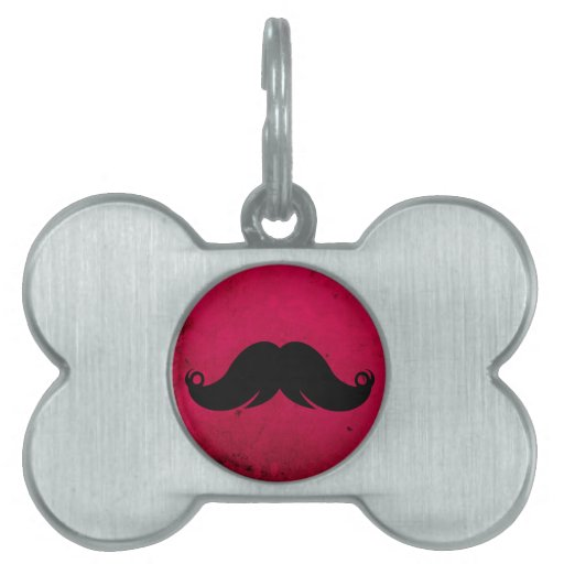 Mustache Moustache on Grunge Background Pet Name Tag