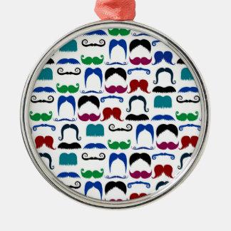 Mustache Moustache Retro Pattern Round Metal Christmas Ornament