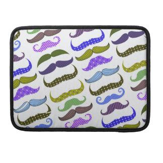 Mustache Moustache Stache Pattern Sleeve For MacBooks