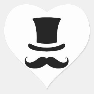 Mustache Moustache Top Hat Heart Stickers
