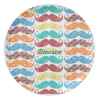 Mustache  Mr. Hipster Vintage Retro Party Plate