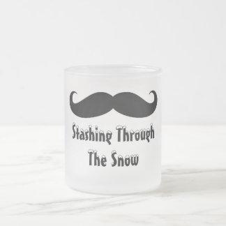 Mustache Mug! Frosted Glass Coffee Mug