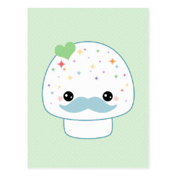 Postcard with Cute Kawaii Mustache design