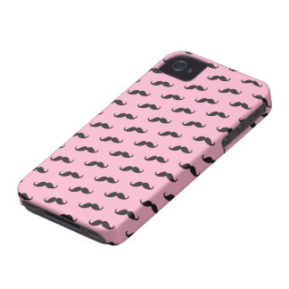 Mustache mustaches funny pink black iPhone 4 case