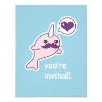 Mustache Narwhal Kids Birthday Party Invitations