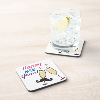 Mustache New Years Drink Coaster