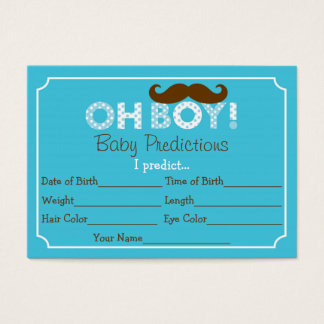Mustache Oh Boy Baby Predictions Cards