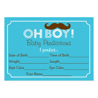 Mustache Oh Boy Baby Predictions Cards Large Business Cards (Pack Of 100)
