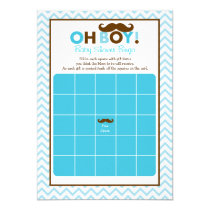 Mustache Oh Boy Baby Shower Bingo Cards