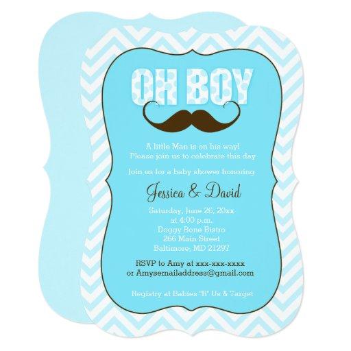Mustache Oh Boy Little Man Baby Shower Invite
