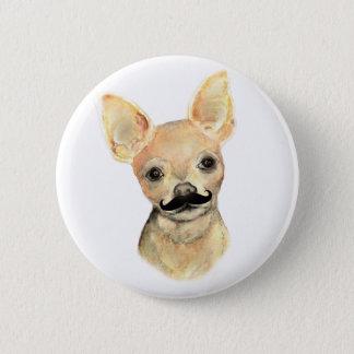 Mustache on a Cute Dog Humor Button