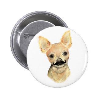Mustache on a Cute Dog Humor Pinback Button