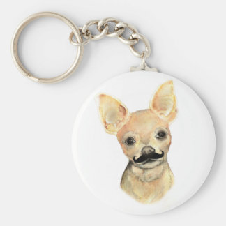 Mustache on a Cute Dog Humor Key Chain