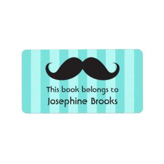 Mustache on aqua stripes bookplates or book labels
