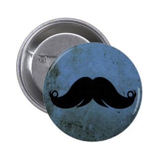Mustache on Blue Grunge Background Buttons