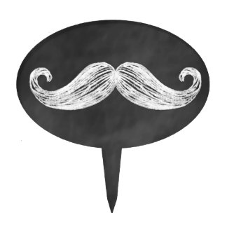 Mustache on Chalkboard Cake Pick