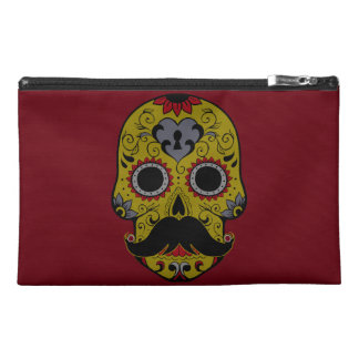 Mustache on Day of the Dead Sugar Skull Travel Accessories Bags