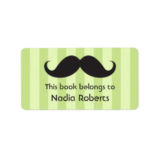 Mustache on green stripes bookplates / book labels