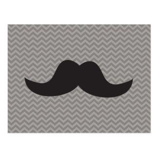 Mustache on grey chevron background postcard