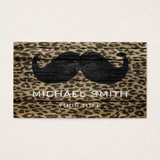 Mustache on Leopard Wood Texture Business Card