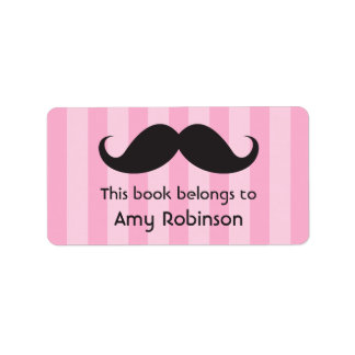 Mustache on pink stripes bookplates or book labels