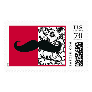 Mustache on Red With Black and White Toile Postage