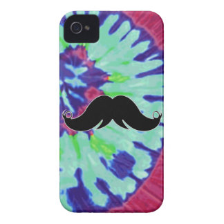 Mustache on Tie Dye Background iPhone 4 Case-Mate Cases