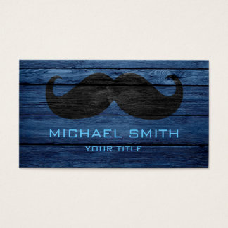 Mustache on Wood Texture Business Card