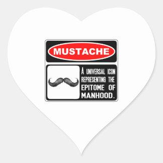 Mustache Or Moustache In Danger Sign Heart Sticker