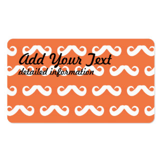 Mustache Orange White Double-Sided Standard Business Cards (Pack Of 100)