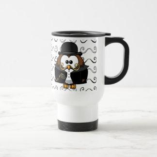 mustache owl 15 oz stainless steel travel mug