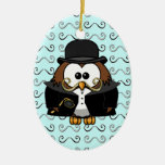 mustache owl christmas tree ornament