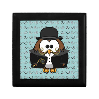 mustache owl jewelry box