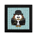mustache owl keepsake box