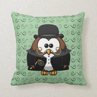 mustache owl pillow