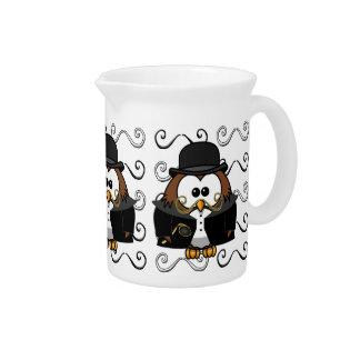 mustache owl beverage pitchers