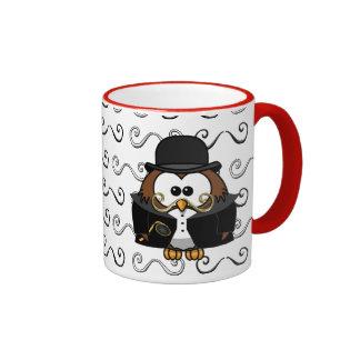 mustache owl ringer mug