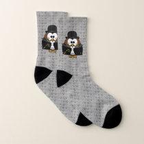 mustache owl - socks