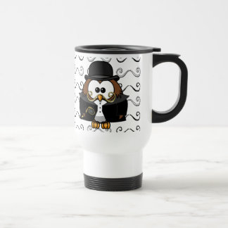 mustache owl travel mug