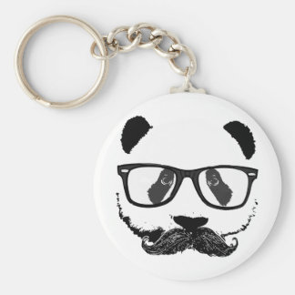 Mustache Pandaz In Da Disco Basic Round Button Keychain